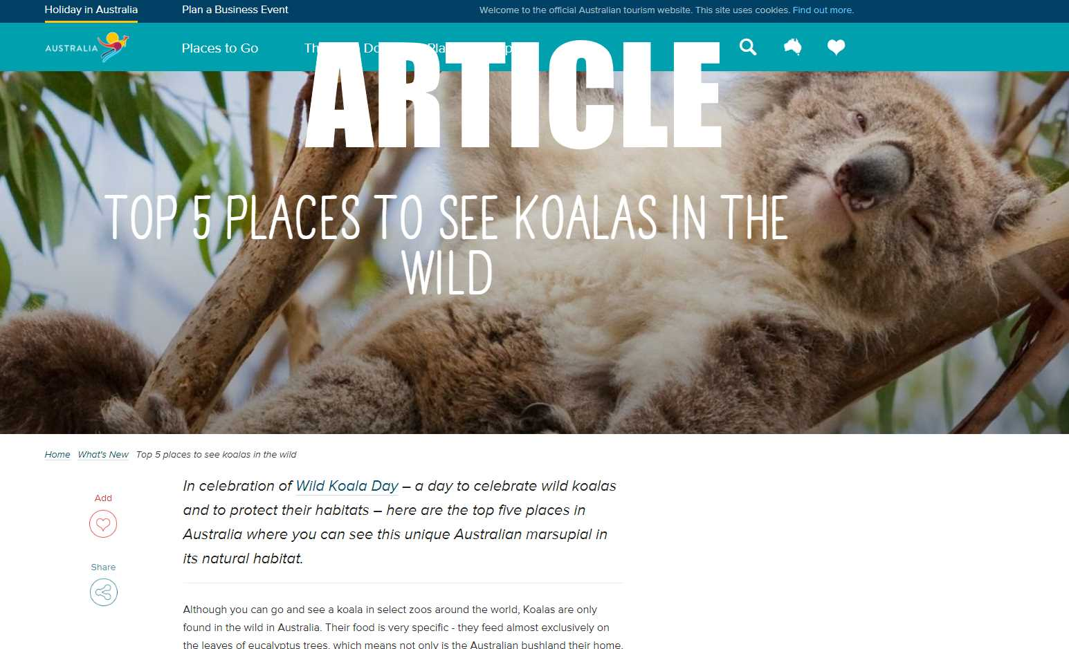 Official Australian government article about where to see wild koalas