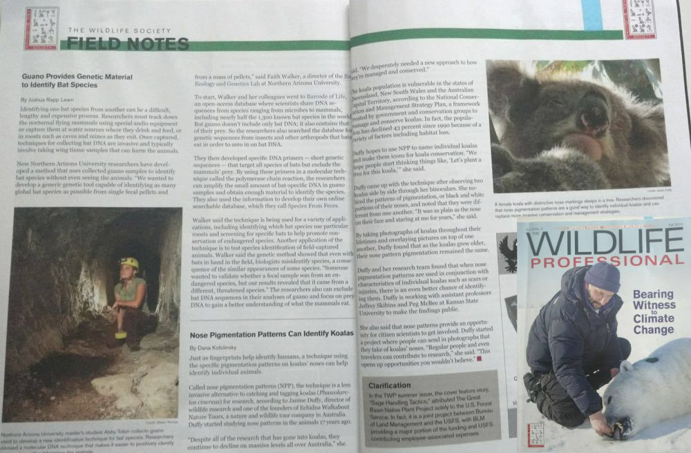 mention Janine Duffy in The Wildlife Professional scientific publication