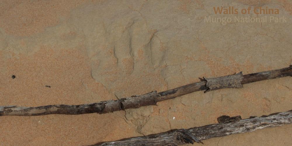 human hand print in sand dunes Mungo Australia