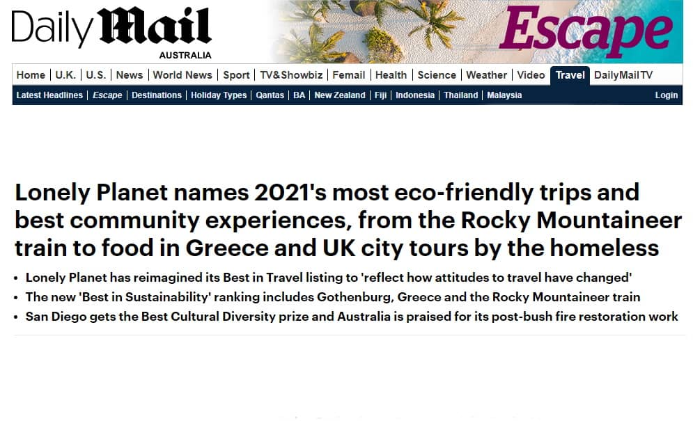 Daily Mail features Australia Lonely Planet win